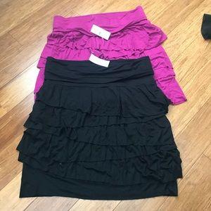 NWT Black and Magenta Loft Skirts